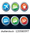Travel icon set over white and black background - stock vector