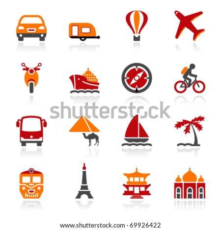 Travel icons. Color series - stock vector