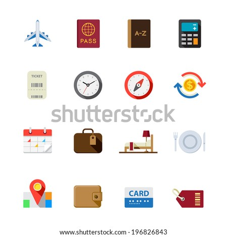 Travel Icons for application : Flat Icon Set for Web and Mobile Application - stock vector