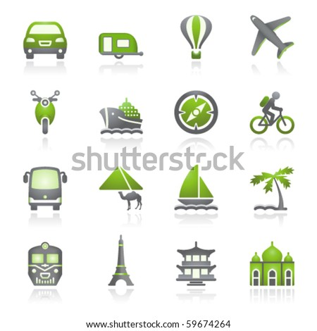 Travel icons for web.  Gray and green series. - stock vector