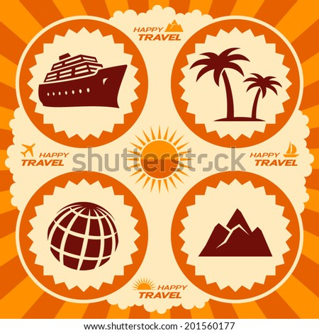 Travel icons in poster design - stock vector