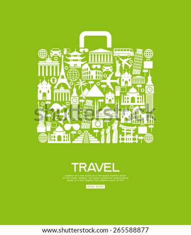 Travel icons in the form of a bag. Travel background infographic. Travel concept with stylish icons. - stock vector