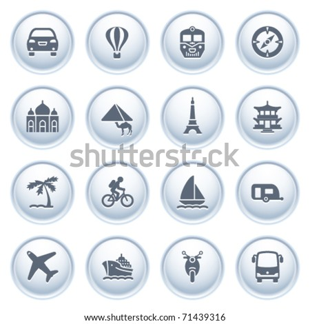 Travel icons on buttons. - stock vector