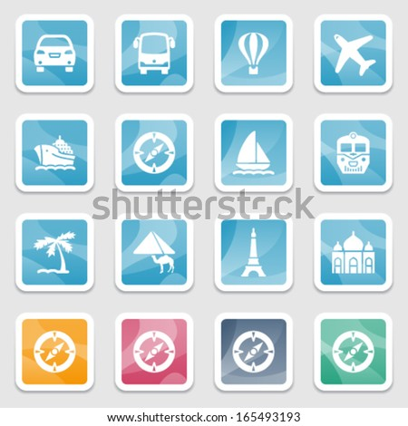 Travel icons on color stickers. - stock vector