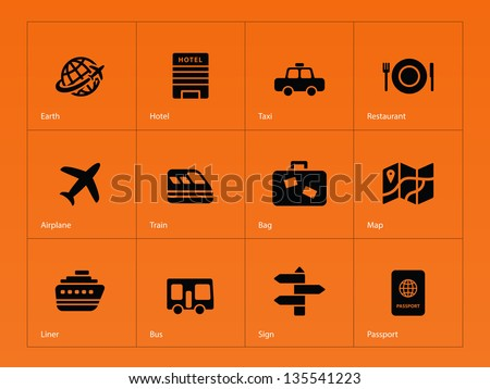 Travel icons on orange background. Vector illustration. - stock vector