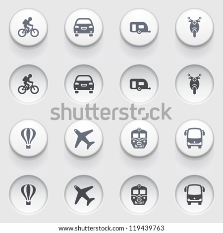 Travel icons on white buttons. Set 1. - stock vector