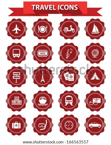 Travel icons,Red version,White background,vector - stock vector