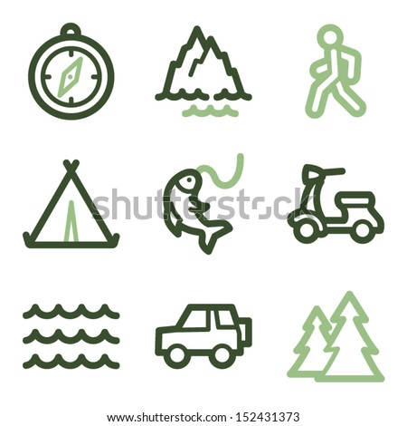 Travel icons set 3, green line contour series - stock vector