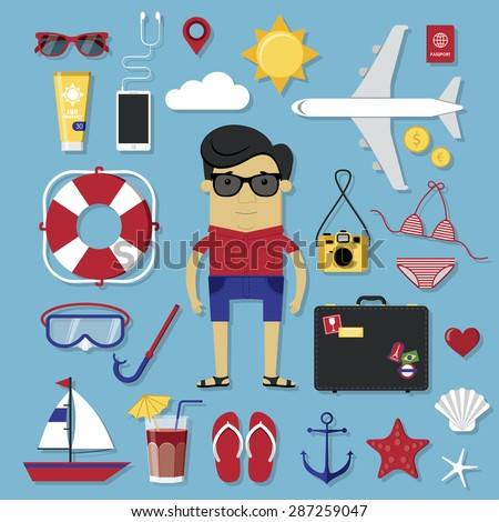 Travel icons set in modern flat style - stock vector