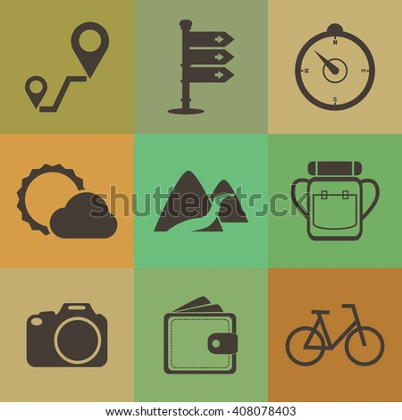 Travel icons set on retro color style. - stock vector