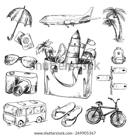 Travel icons set. Sketch converted to vectors. - stock vector