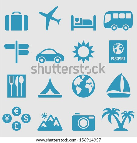 Travel icons set.Vector  - stock vector