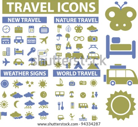 travel icons set, vector - stock vector