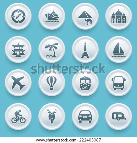 Travel icons with white buttons on blue background. - stock vector