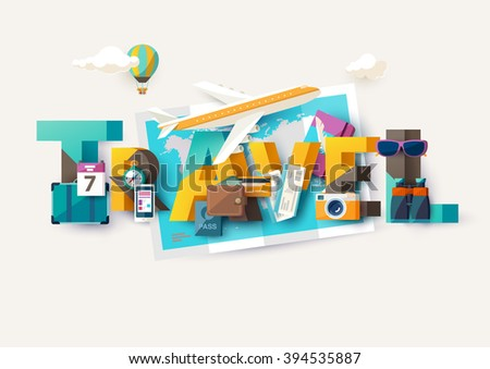 Travel  illustration with lettering. Typographic poster. - stock vector