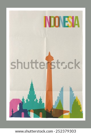 Travel Indonesia famous landmarks skyline on vintage paper sheet poster design background. Vector organized in layers for easy create your own postcard, brochure or marketing campaign. - stock vector