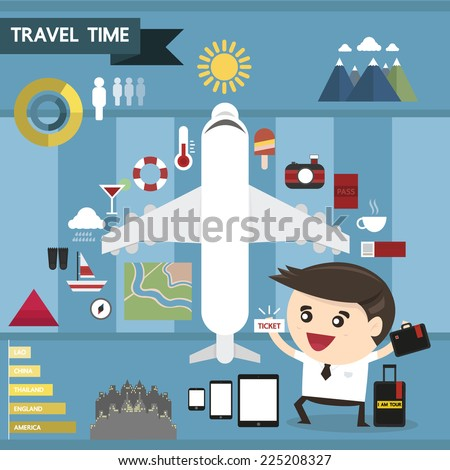 Travel infographic flat design, vector illustration - stock vector