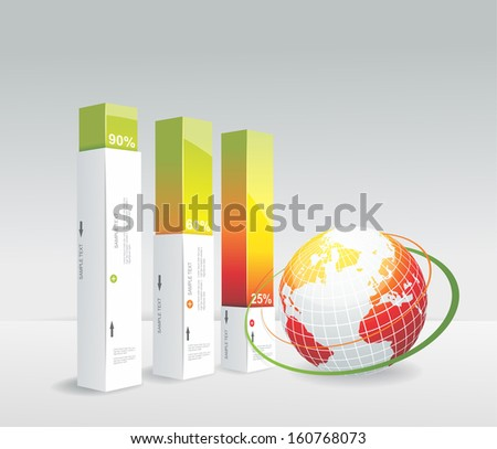 Travel Infographic set with globe. Vector illustration.  - stock vector