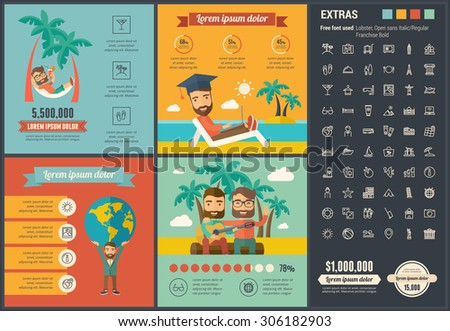 Travel infographic template and elements. The template includes illustrations of hipster men and huge awesome set of thin line icons. Modern minimalistic flat vector design. - stock vector