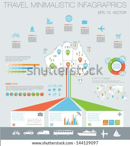 Travel infographics with Map of Australia, data icons and elements - stock vector