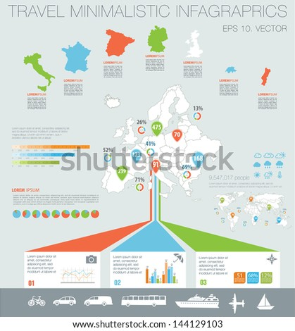 Travel infographics with Map of Europe, data icons and elements - stock vector