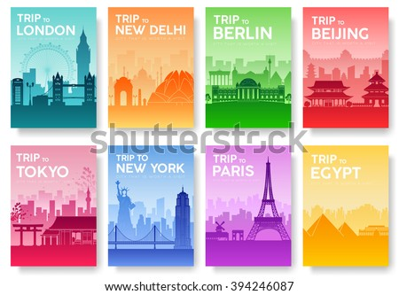 Travel information cards. Landscape template of flyear, magazines, posters, book cover, banners. Country of England, China, Germany, India, Japan, USA, France and Egypt set. Layout city pages - stock vector
