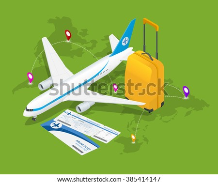 Travel isometric composition. Travel and tourism background. Flat 3d Vector illustration. Travel banner design. Travel  flyer design. World travel banner background. World travel concept.  - stock vector