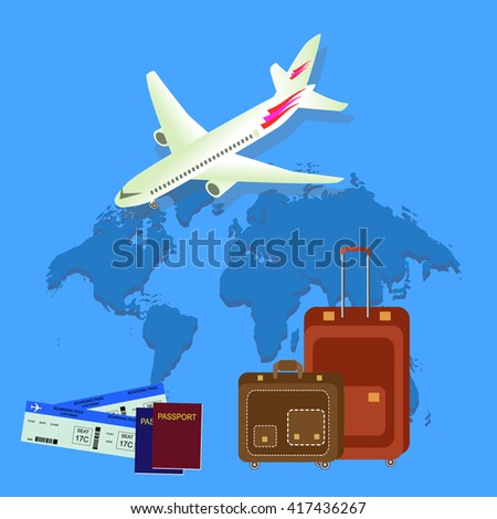 Travel isometric composition. Travel and tourism background.  World travel banner background with aircraft, map, passport and bags. Flat design. Vector illustration - stock vector