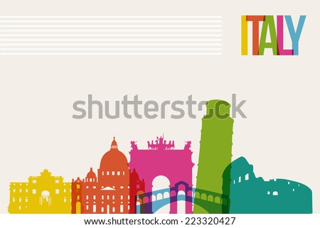 Travel Italy famous landmarks skyline multicolored design background. Transparency vector organized in layers for easy create your own website, brochure or marketing campaign. - stock vector