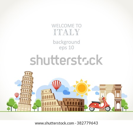 travel Italy panorama background - stock vector