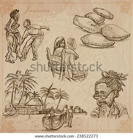 Travel: JAMAICA (set no.7) - Collection of an hand drawn vector illustrations. Each drawing comprise three layers of lines, the colored background is isolated. Easy editable in layers and groups. - stock vector