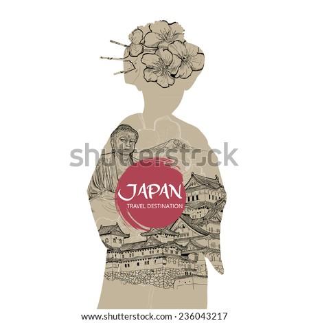 Travel Japan. Hand drawn Japan design elements. vector illustration. - stock vector