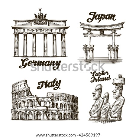 Travel, journey. Hand drawn sketch Germany, Japan, Italy, Easter island. Famous buildings of the world. Vector illustration - stock vector