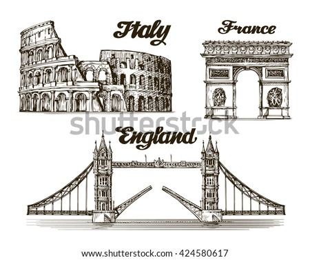 Travel, journey. Hand drawn sketch Italy, France, England. Famous buildings of the world. Vector illustration - stock vector