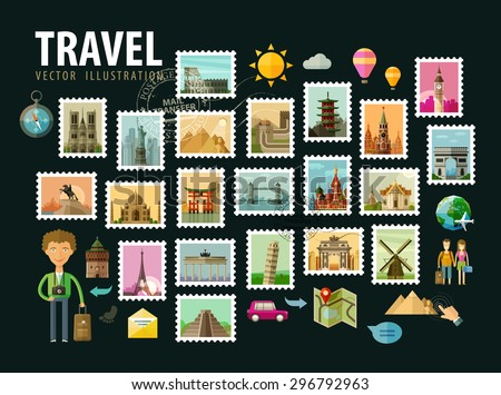 Travel, journey. Icons set. Postage stamps depicting historical architecture in the world. Vector illustration - stock vector