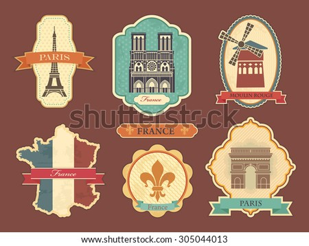 Travel labels with symbols of France and Paris - stock vector