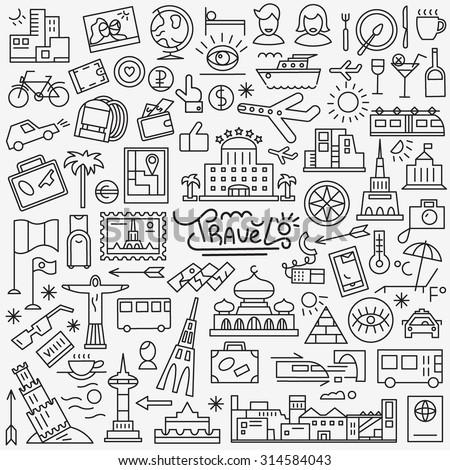 travel landmarks transport line icons set - stock vector