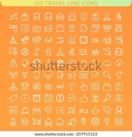 Travel Line Icons for Web and Mobile. Dark version. - stock vector