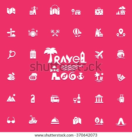 Travel logo and icons set for web and mobile app. Vector. - stock vector