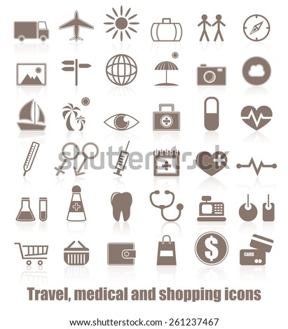 Travel, medicals and shopping icons. Vector set of buttons. Original design    - stock vector