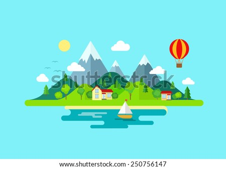 Travel mountains island landscape and sailing color flat vector icon nature weather concept template. Stylish trendy outdoor tourism rest vacation boat yacht balloon hiking. Flat landscapes collection - stock vector