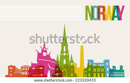 Travel Norway famous landmarks skyline multicolored design background. Transparency vector organized in layers for easy create your own website, brochure or marketing campaign. - stock vector