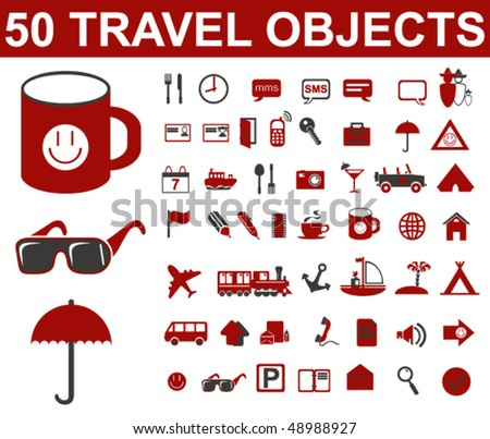 Travel Objects Vector - stock vector