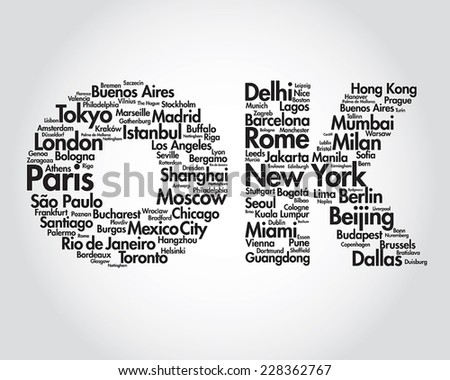 TRAVEL.OK Word collage . Illustration with different world city names - stock vector