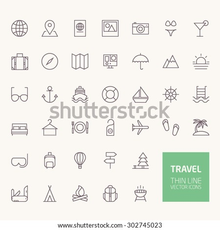 Travel Outline Icons for web and mobile apps - stock vector
