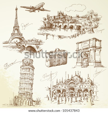travel over Europe - hand drawn collection - stock vector