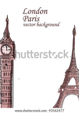 Travel, Paris, England, vector background - stock vector