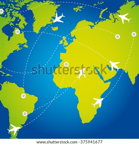 travel routes with plane background vector illustration - stock vector