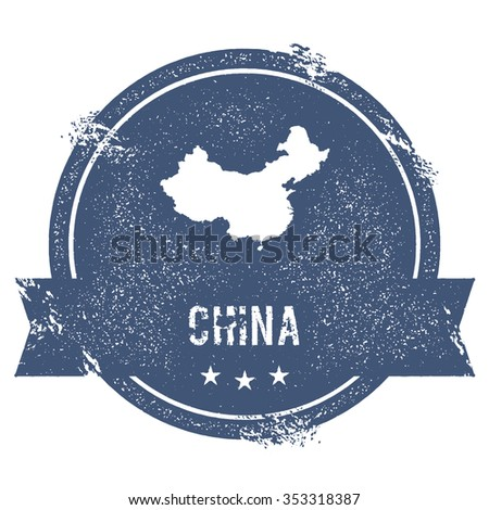 Travel rubber stamp with the name and map of China, vector illustration. Can be used as insignia, logotype, label or badge vector design element. - stock vector