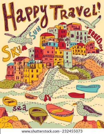 Travel sea city birds Color vector illustration - stock vector